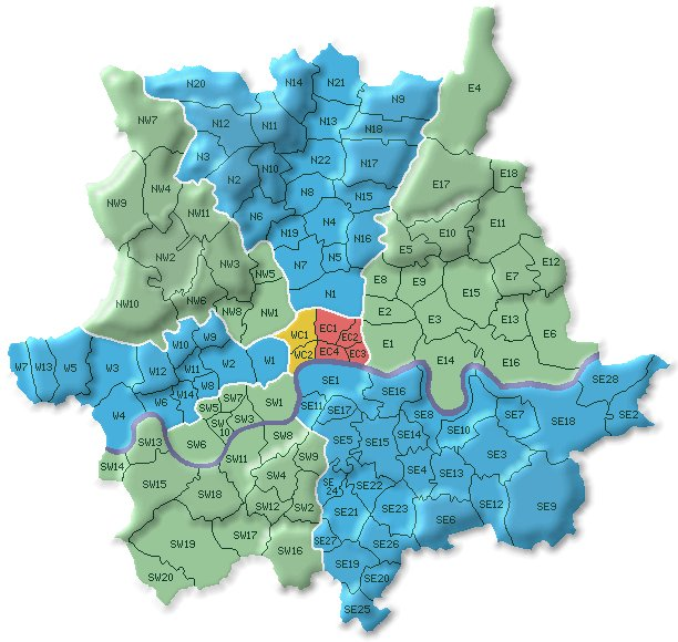Postcode map of London